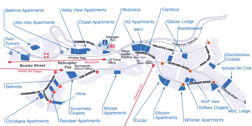 AMS Mt Buller Accommodation Map